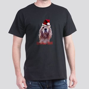 Cocker Spaniel Christmas Dog Dark T-Shirt