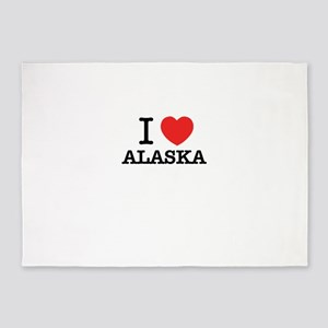 I Love ALASKA 5'x7'Area Rug