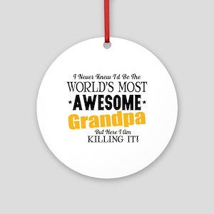 Awesome Grandpa Round Ornament