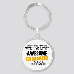 Awesome Grandpa Round Keychain
