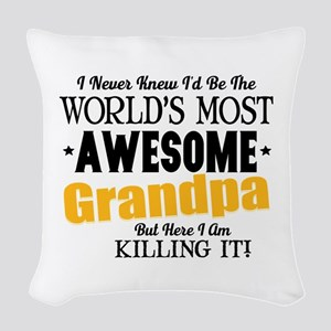 Awesome Grandpa Woven Throw Pillow