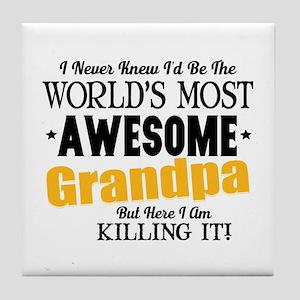 Awesome Grandpa Tile Coaster