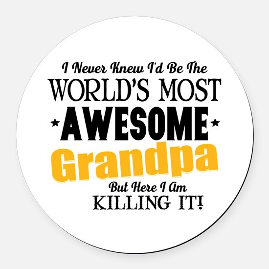 Awesome Grandpa Round Car Magnet