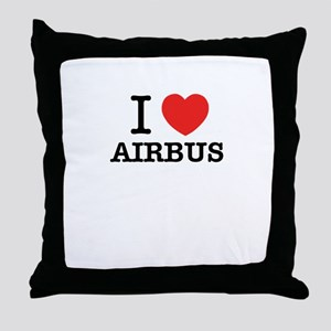 I Love AIRBUS Throw Pillow