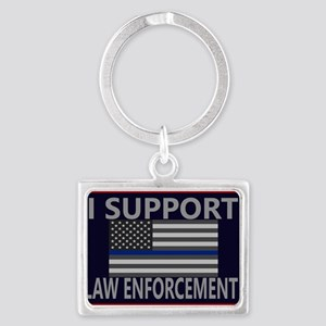 I Support Law Enforcement Landscape Keychain