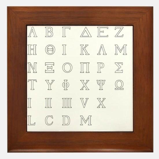 Greek letters Framed Tile