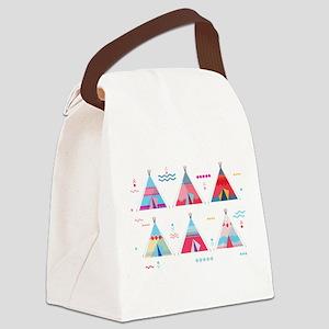 pink tipi Canvas Lunch Bag