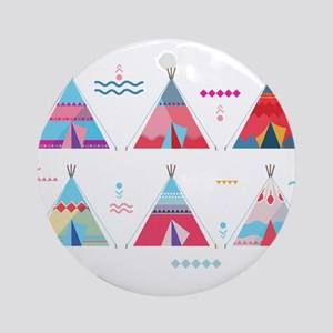 pink tipi Round Ornament
