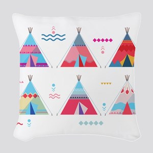 pink tipi Woven Throw Pillow
