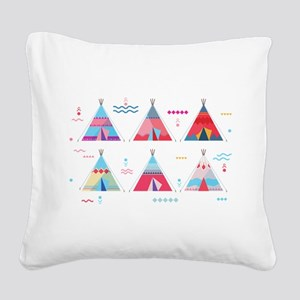 pink tipi Square Canvas Pillow