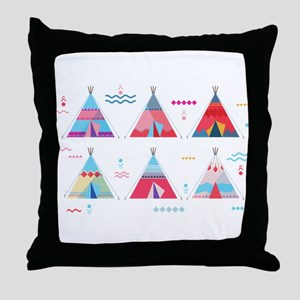 pink tipi Throw Pillow