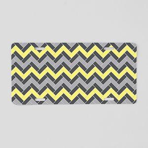 Yellow Gray Herringbone Aluminum License Plate