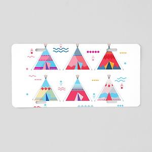 pink tipi Aluminum License Plate