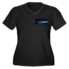 Saturn View Women's Plus Size V-Neck Dark T-Shirt