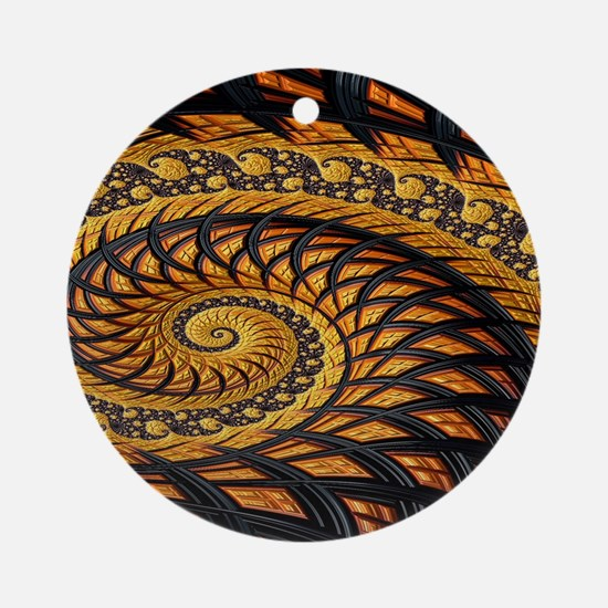 Black and Yellow Spiral Fractal Round Ornament
