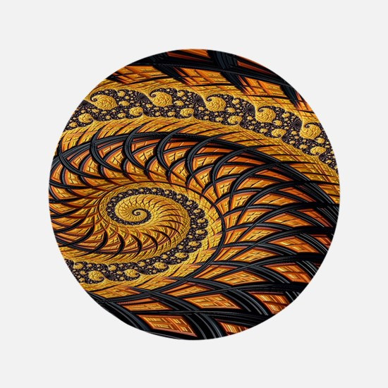 Black and Yellow Spiral Fractal Button