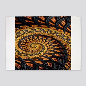 Black and Yellow Spiral Fractal 5'x7'Area Rug