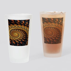 Black and Yellow Spiral Fractal Drinking Glass
