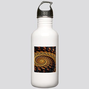 Black and Yellow Spiral Fractal Water Bottle