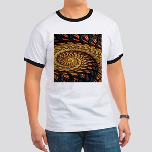 Black and Yellow Spiral Fractal T-Shirt