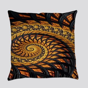Black and Yellow Spiral Fractal Everyday Pillow