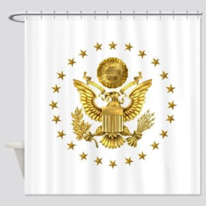 Gold Presidential Seal, The White H Shower Curtain