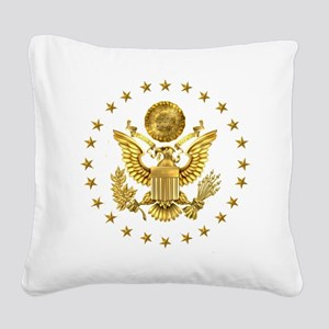 Gold Presidential Seal, The W Square Canvas Pillow