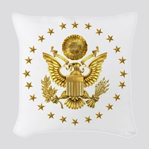 Gold Presidential Seal, The Wh Woven Throw Pillow