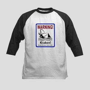 Warning, Kraken, boating sailing sign Kids Basebal