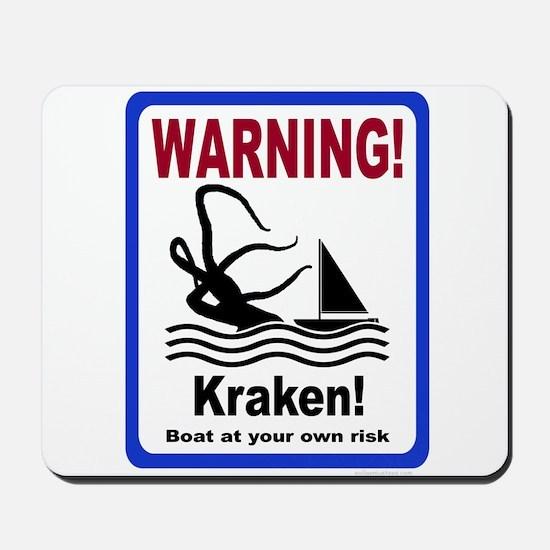 Warning, Kraken, boating sailing sign Mousepad