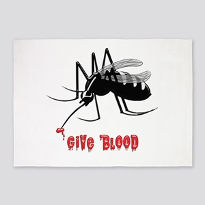 Mosquito Biting TEXT: Give Blood 5'x7'Area Rug