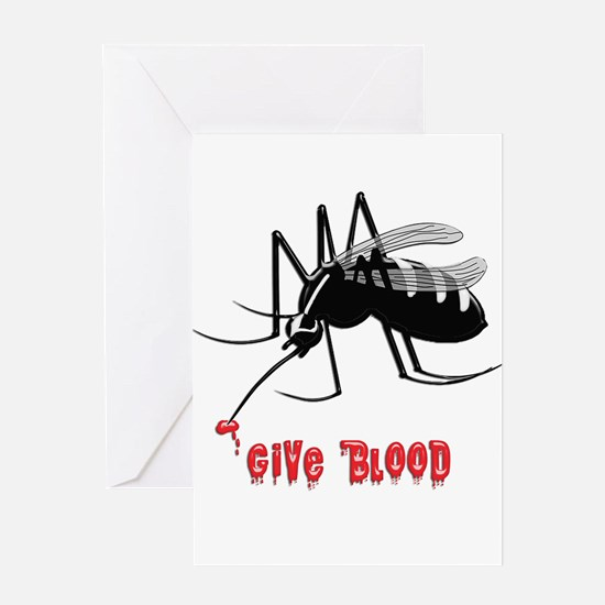 Mosquito Biting TEXT: Give Blood Greeting Cards