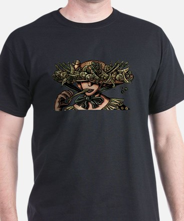 Woman in Hat Decorated with Vegetables T-Shirt