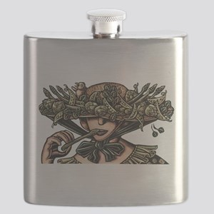Woman in Hat Decorated with Vegetables Flask