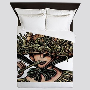 Woman in Hat Decorated with Vegetables Queen Duvet
