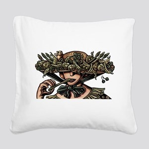 Woman in Hat Decorated with V Square Canvas Pillow