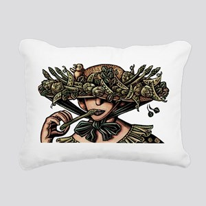 Woman in Hat Decorated w Rectangular Canvas Pillow