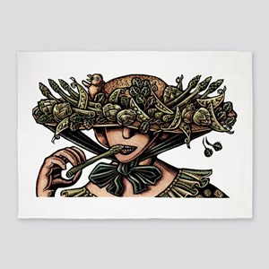 Woman in Hat Decorated with Vegetab 5'x7'Area Rug