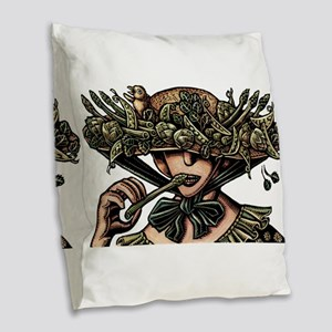Woman in Hat Decorated with Ve Burlap Throw Pillow
