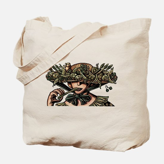 Woman in Hat Decorated with Vegetables Tote Bag