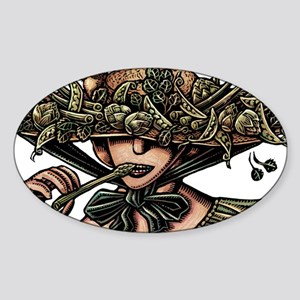 Woman in Hat Decorated with Vegetables Sticker