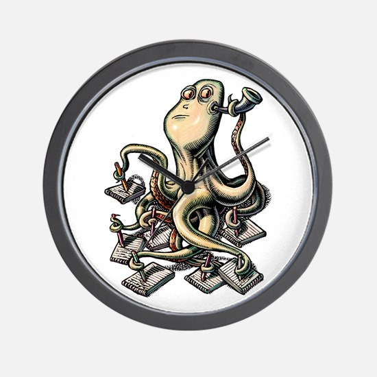 Octopus Writes With Many Arms Wall Clock