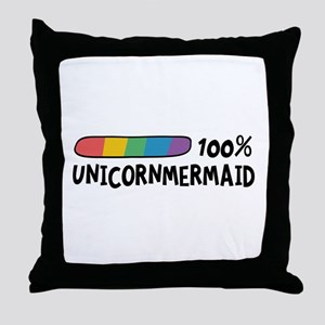 100% Unicorn Mermaid Cl1o1 Throw Pillow