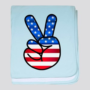Peace USA baby blanket