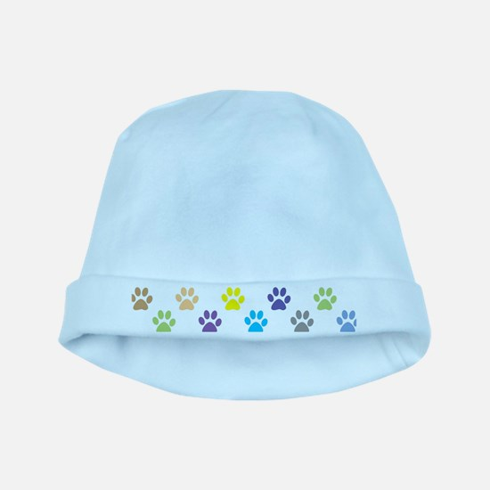 Colorful puppy paw print pattern baby hat