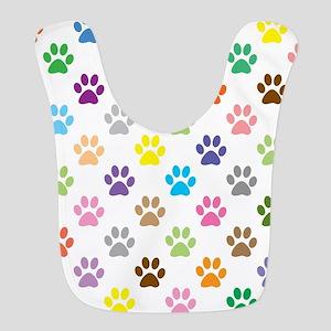 Colorful puppy paw print pattern Bib