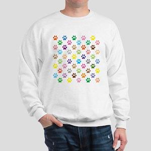 Colorful puppy paw print pattern Sweatshirt