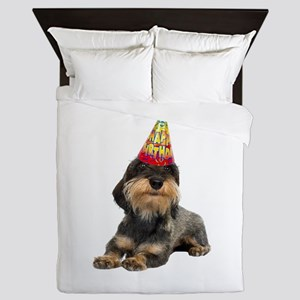 Wirehaired Dachshund Birthday Queen Duvet