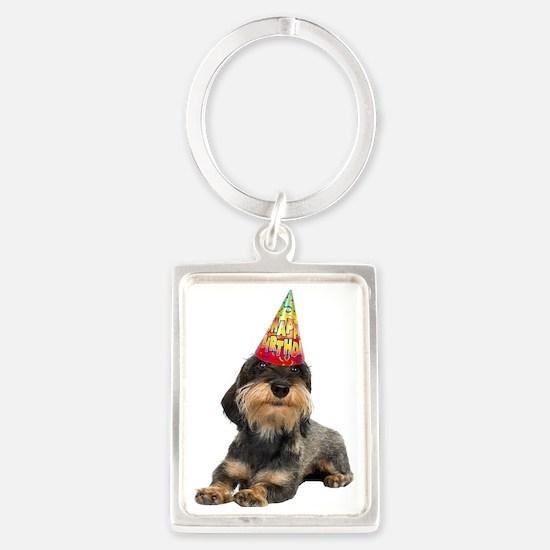 Wirehaired Dachshund Birthday Keychains