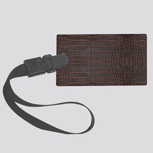 Chestnut Nile Crocodile Skin Large Luggage Tag